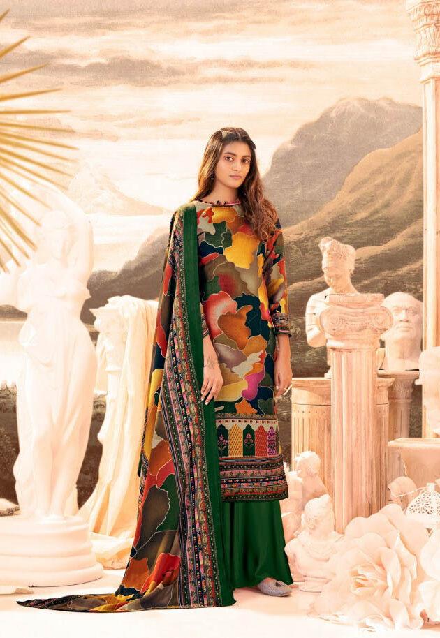 New Trend Designer Green Color Pure Pashmina Suit.