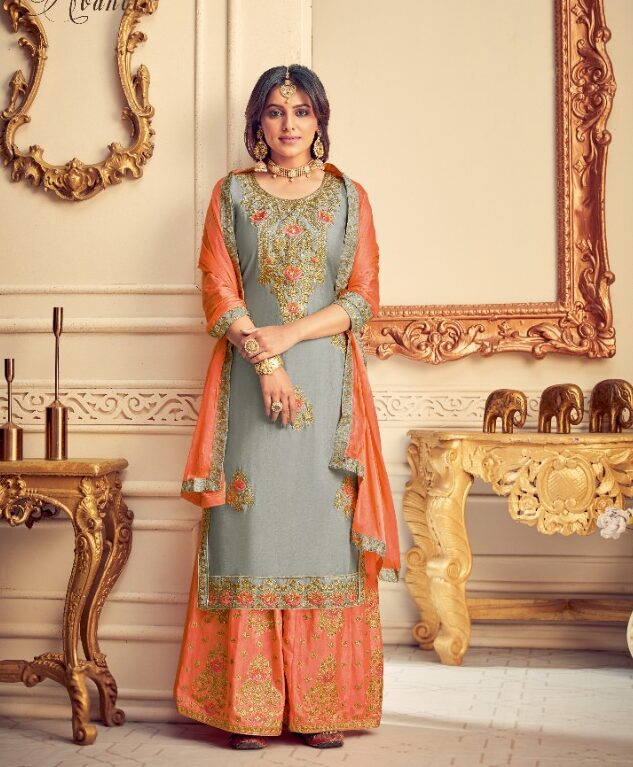 New Trend Designer Grey Color Best Sahara Salwar Kameez