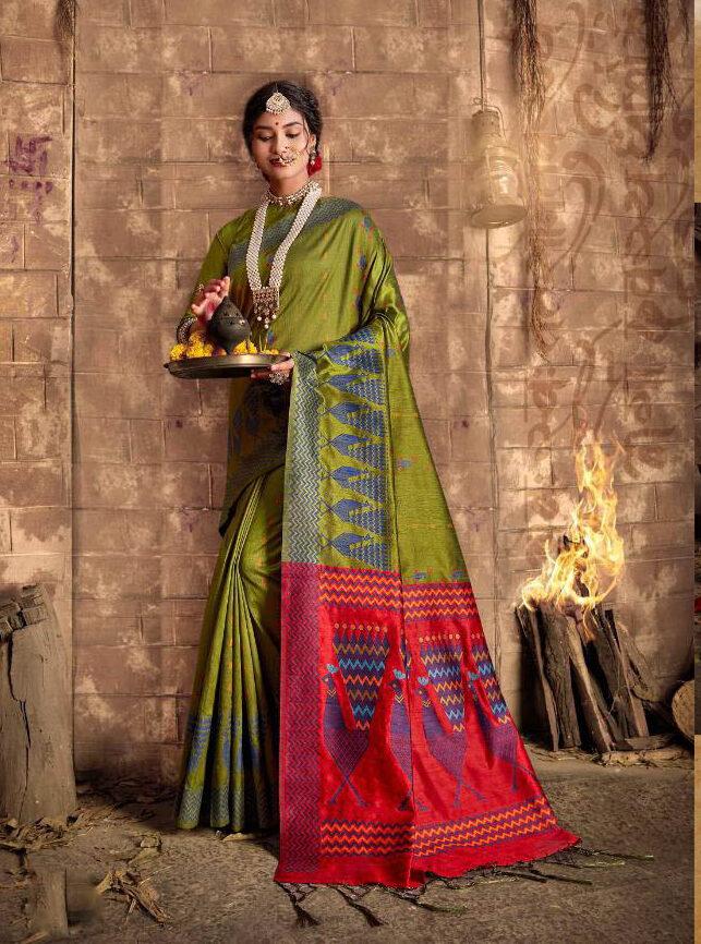 New Trend Designer Latest Update Green Color Silk Saree