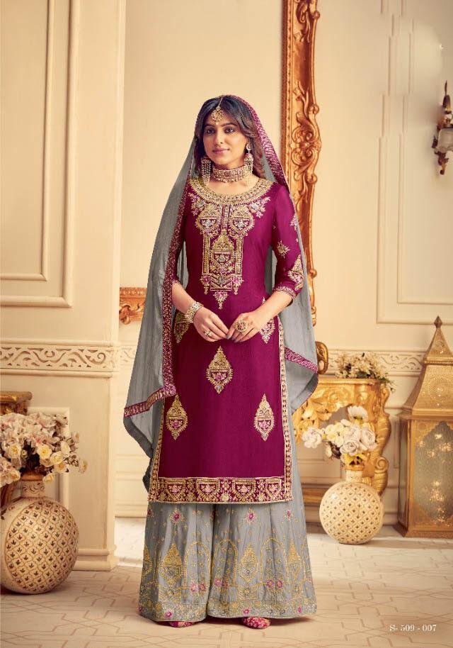New Trend Designer Pink Color Sahara Suit For Partywear