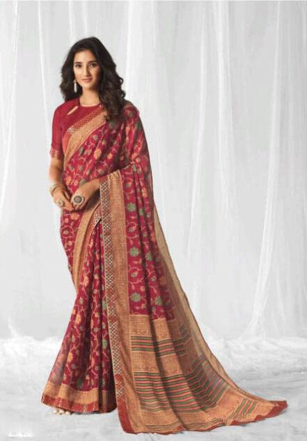 New Trend Designer Red Color Designer Saree Design 2020.