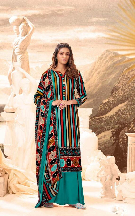 New Trend Designer SkyBlue Color Pure Pashmina Suit.