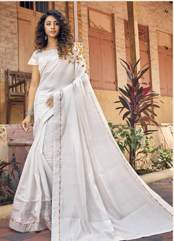 New Trend Designer White Color Fancy Georgette Saree Online