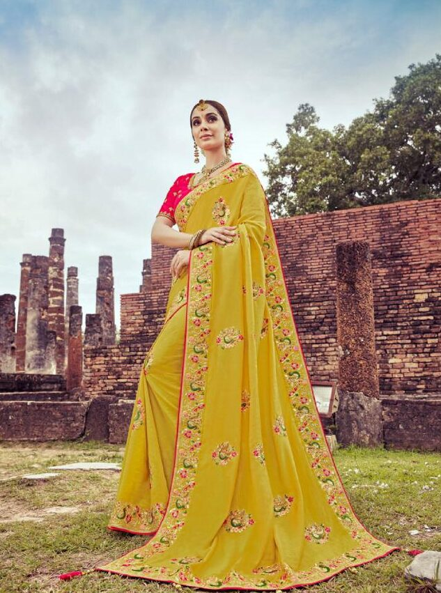 New Trend Designer Yellow Color Wedding Saree Collection With Price