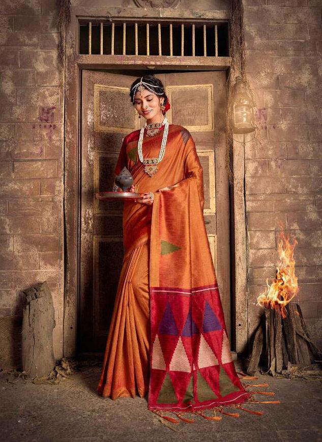 New Trend designer Plain Border Partywear Silk Saree For Bride