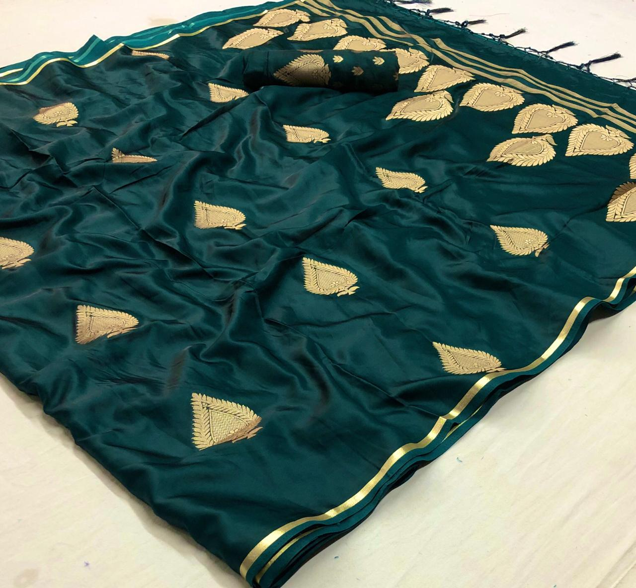 Party Wear Jade Green Soft Silk Sarees Below 3000 Online
