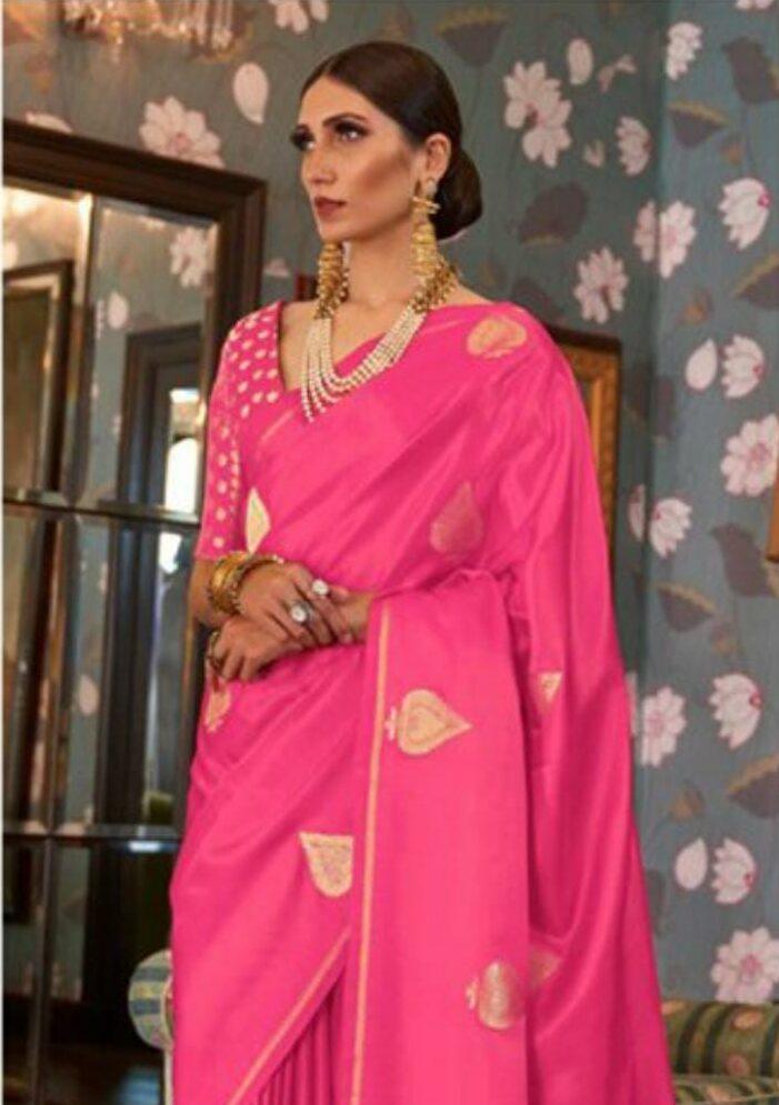 Party Wear Pink Colour Soft Silk Designer Saree
