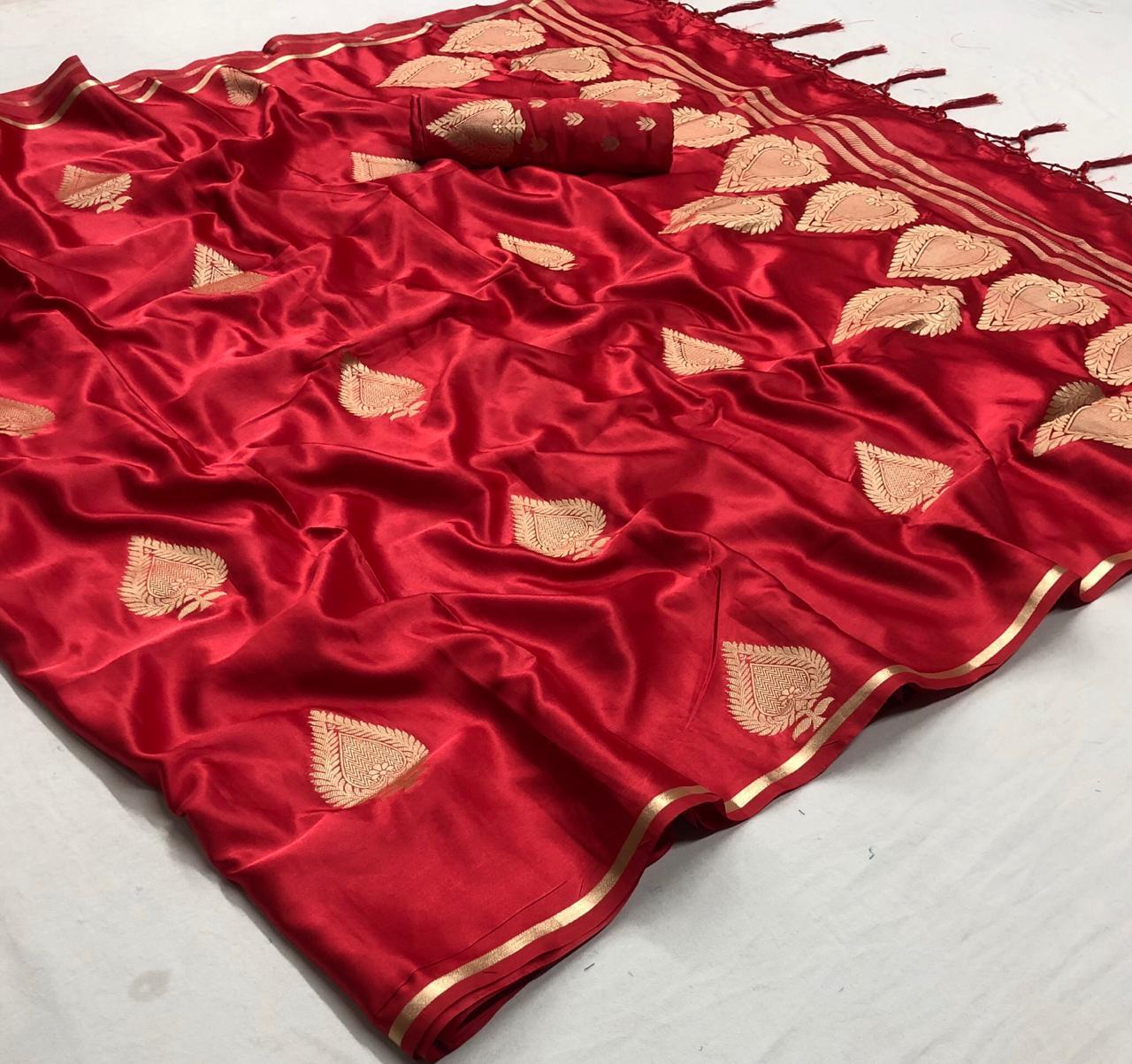 Red Colour Latest Designer Leaf Printed Silk Sarees Bangalore