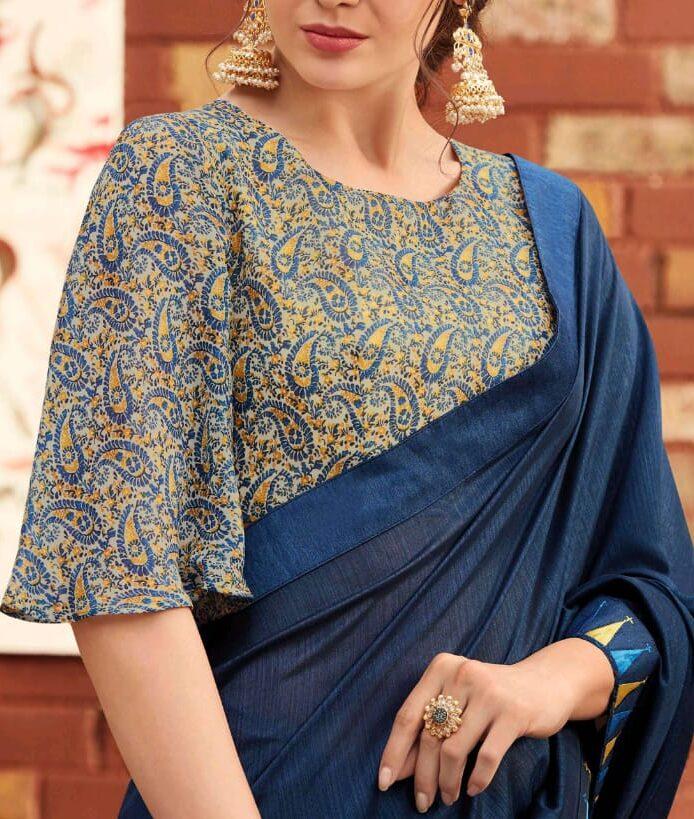 Royal Blue Latest Saree Blouse Designs 2020