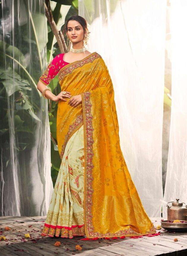 Wedding Party Wear Magenta Yellow Saree Blouse Combination