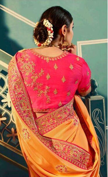 Yellow Saree with Magenta Fancy Sarees for Wedding