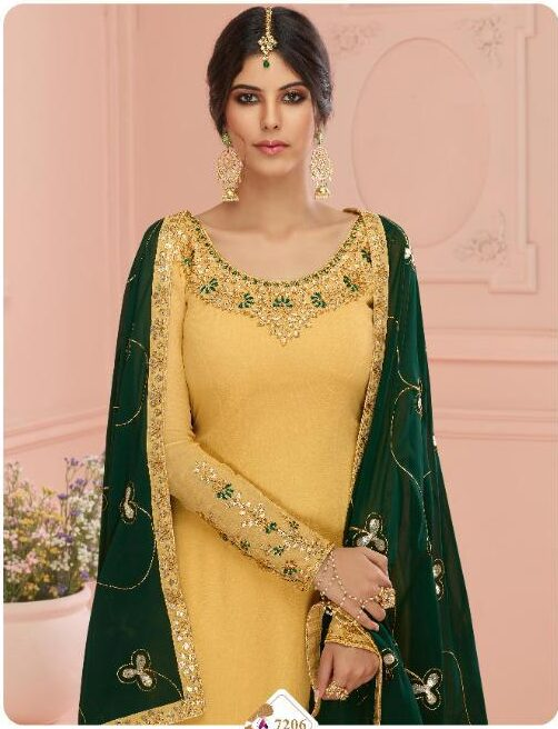 Yellow and Green Salwar Suits for Party Wear with Heavy Dupatta