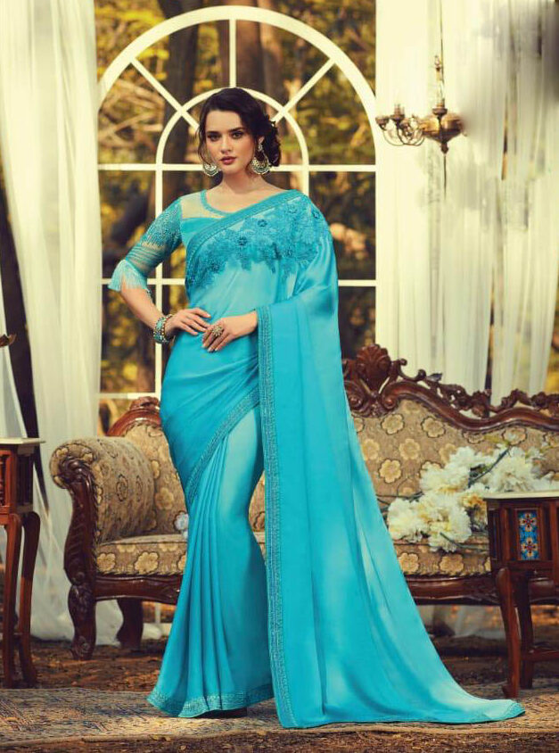 Best Bollywood Actress Sky Blue Color Blouse Design