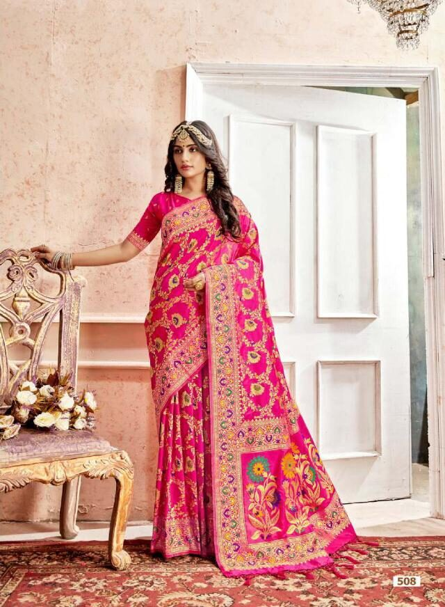 Best Designer Pink Color Heavy Work Designer Saree For Bride.