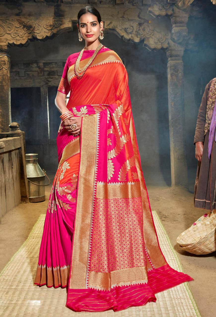 Best Designer Pink Color Partywear Silk Saree For Bride