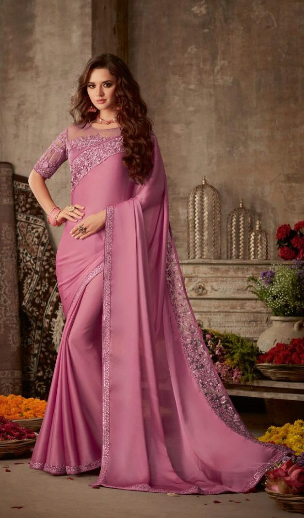 Best Designer Pink Color Saree For Wedding Shahifits.