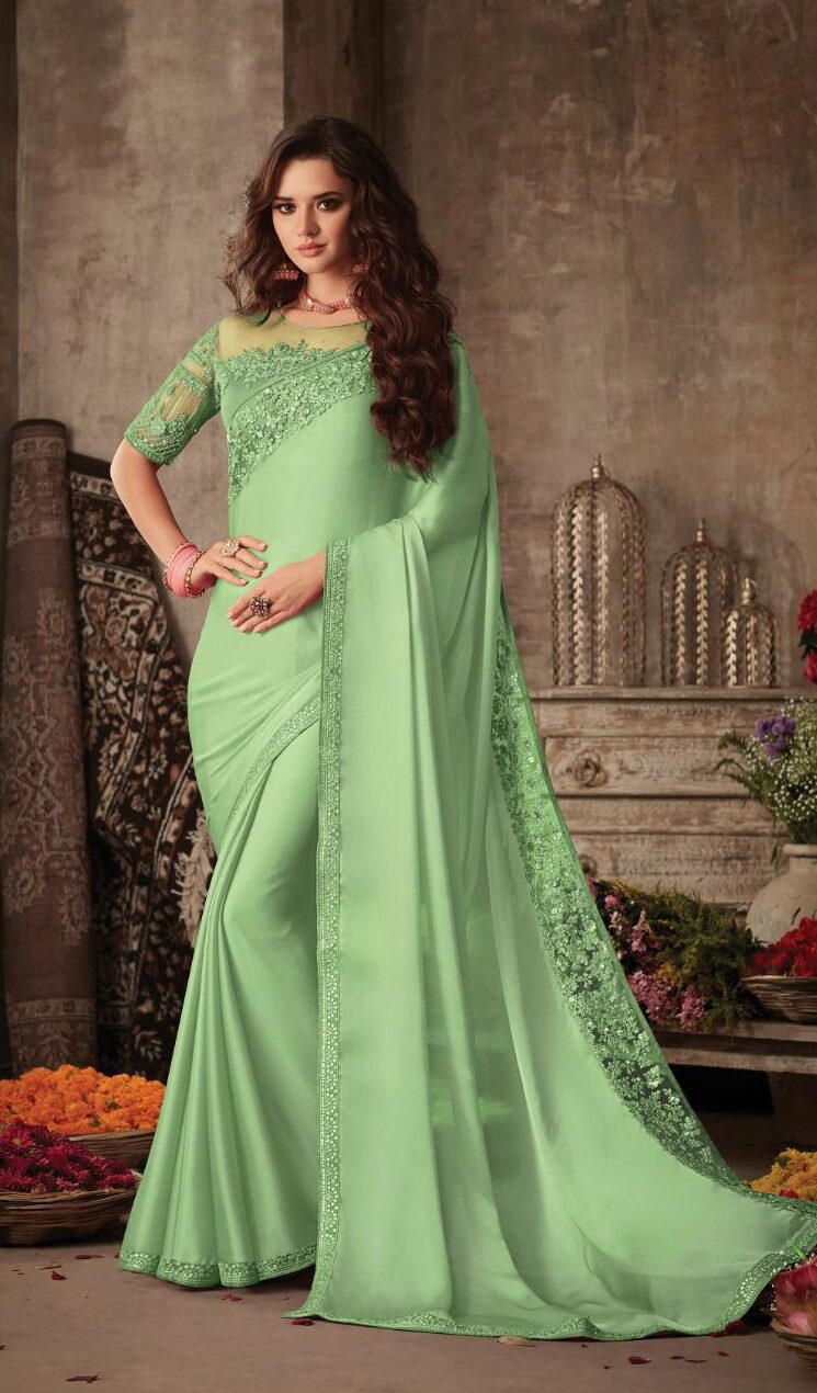 Best Designer Cream Green Saree For Wedding Party.