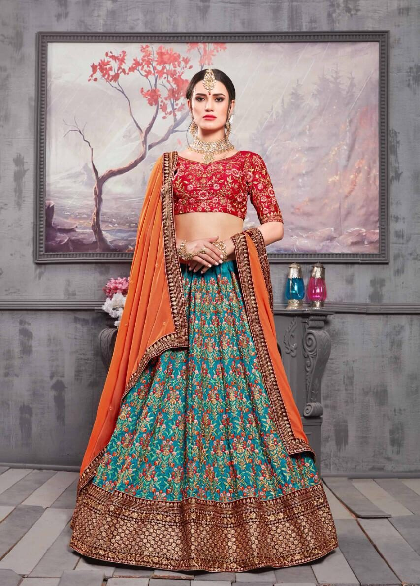 Best Embroidered Blue Color Lehenga For Bride Online