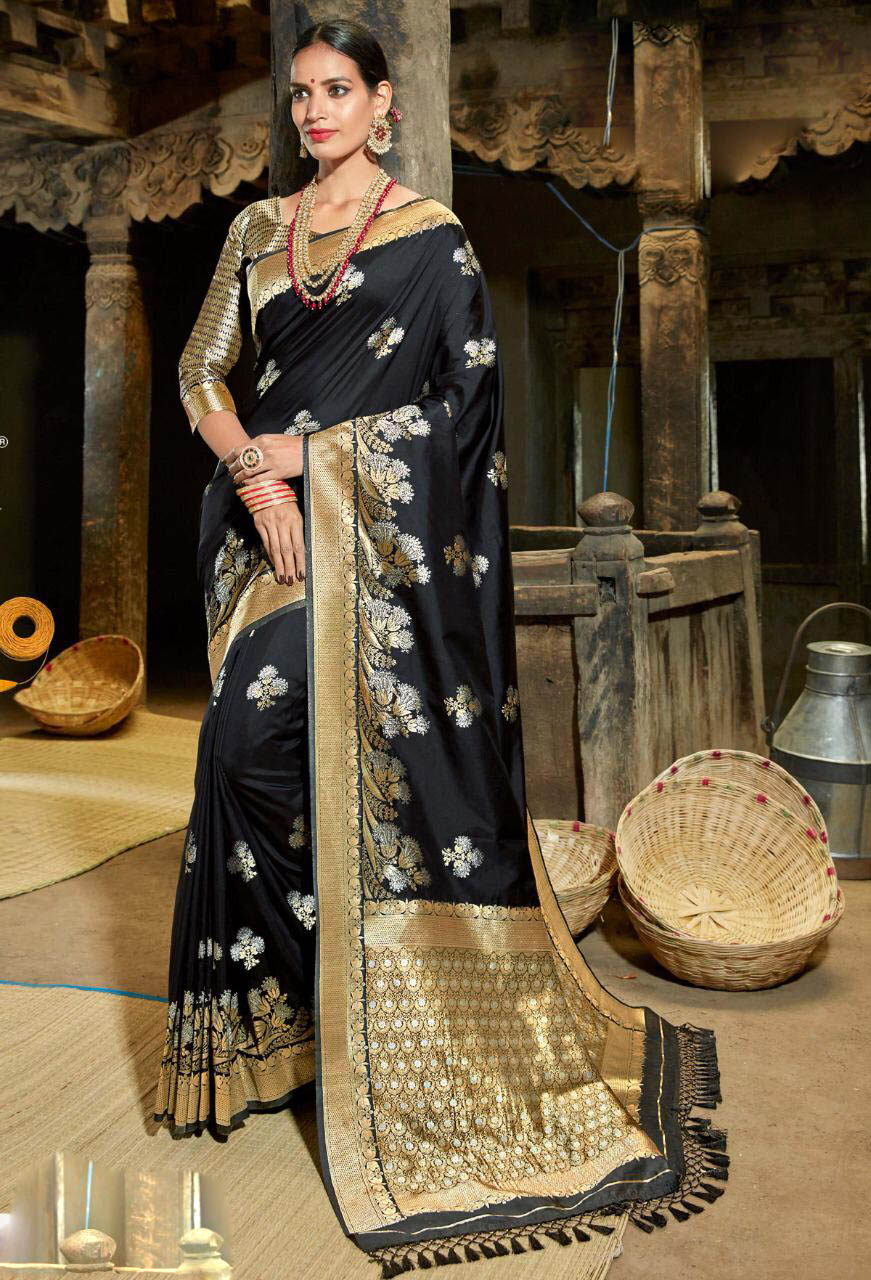 Best Georgette Black Color reception silk sarees for the bride.