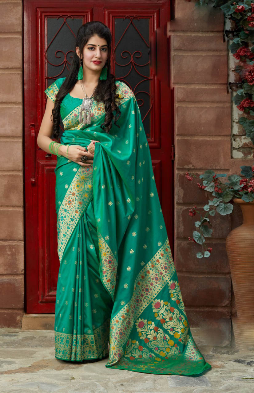 Best Georgette Green Color silk sarees online shopping.