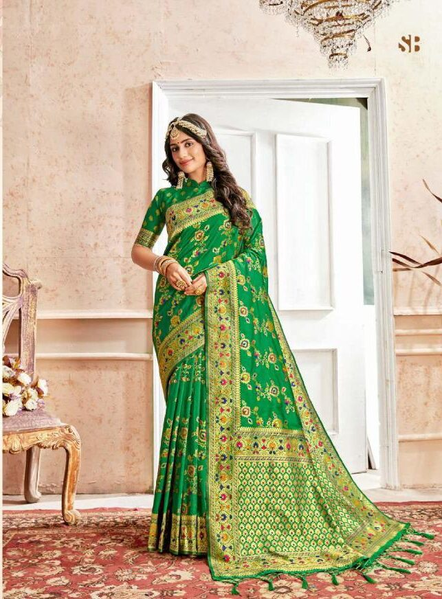 Best Green Color Latest Wedding Saree Collection 2020