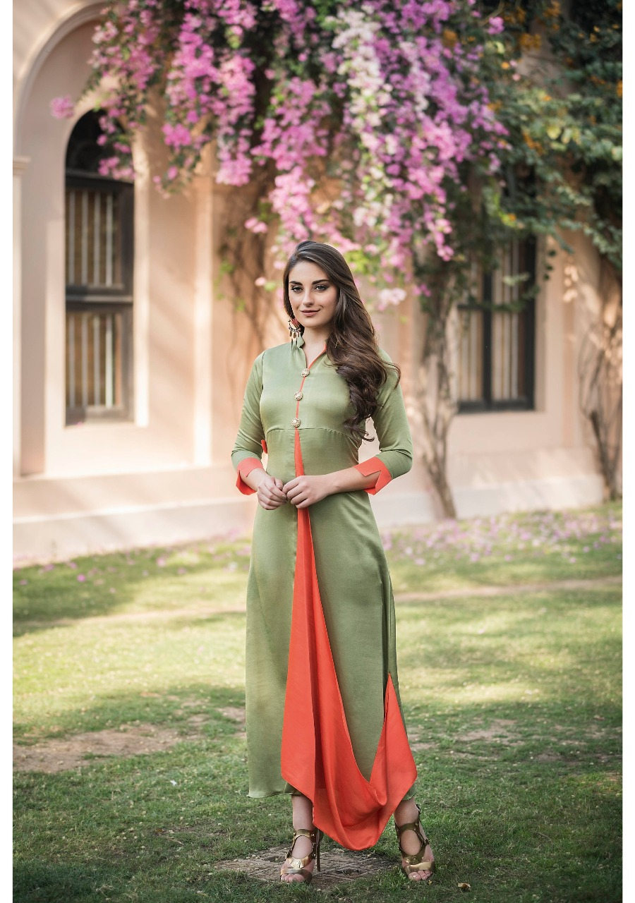 Best Green Color Layered missi Silk Modern Suit Cost.