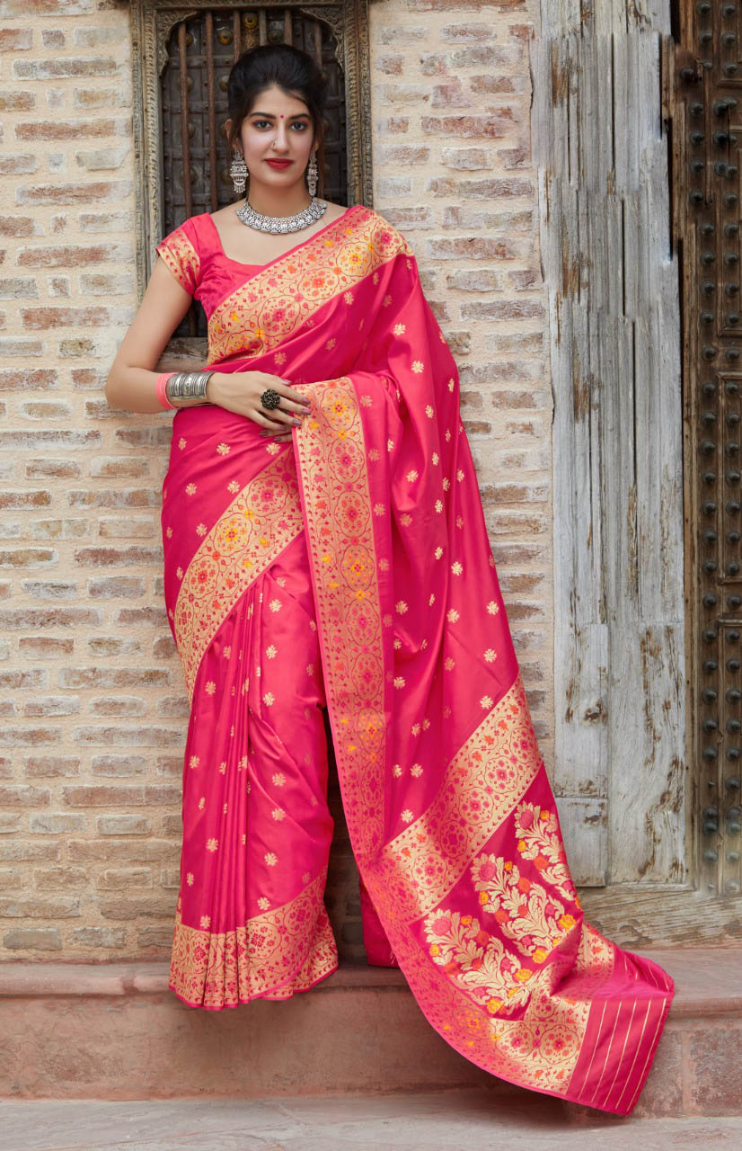 Best Light Pink Color soft silk sarees images with price.
