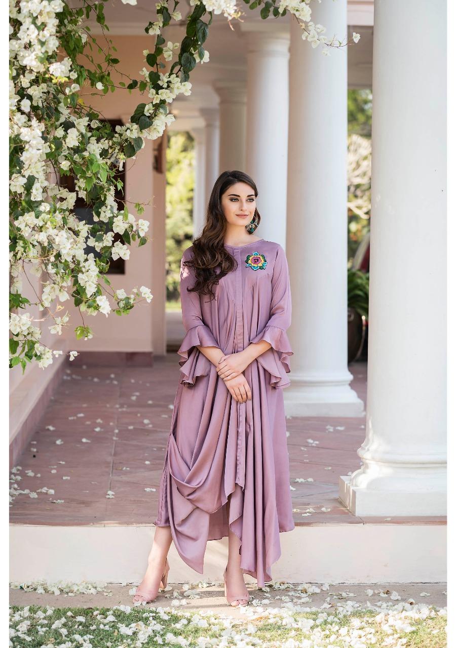 Best Light Purple Color Layered Missi Silk Modern Suit