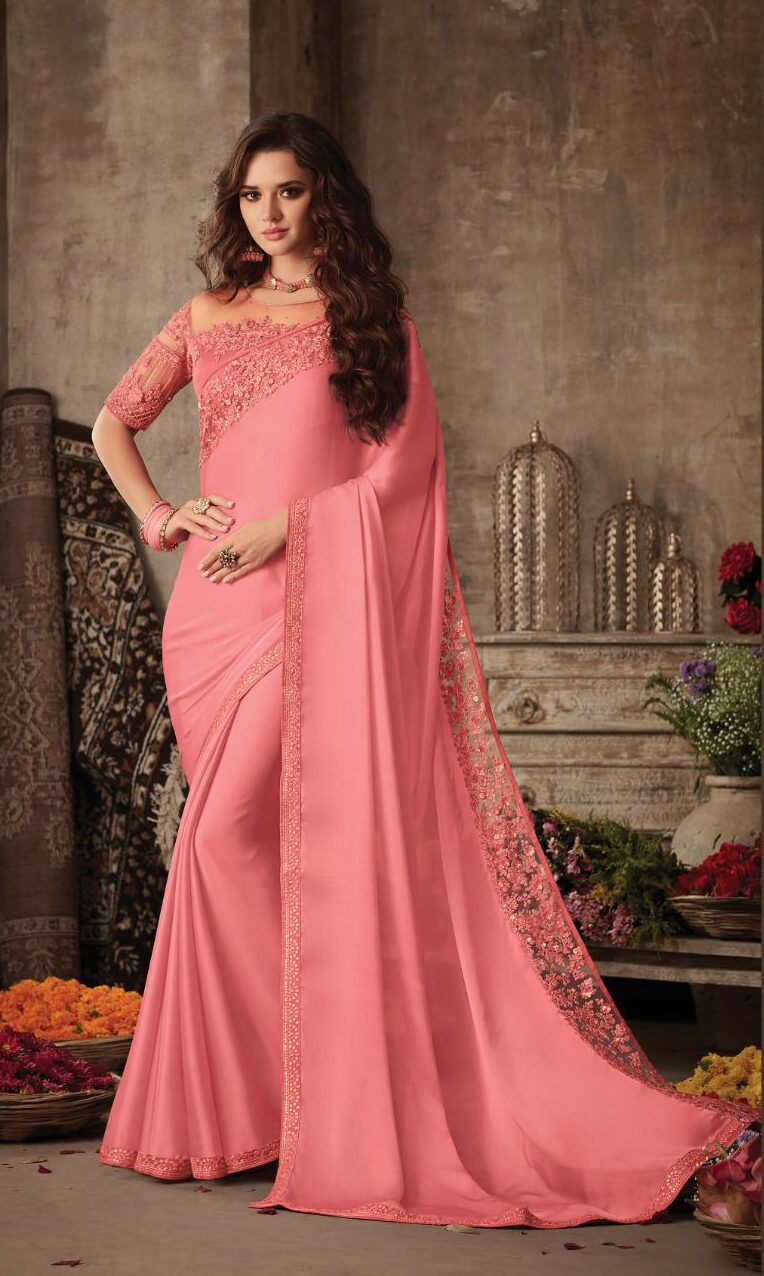 Best Pink Color Designer Saree For Wedding Party With Price.