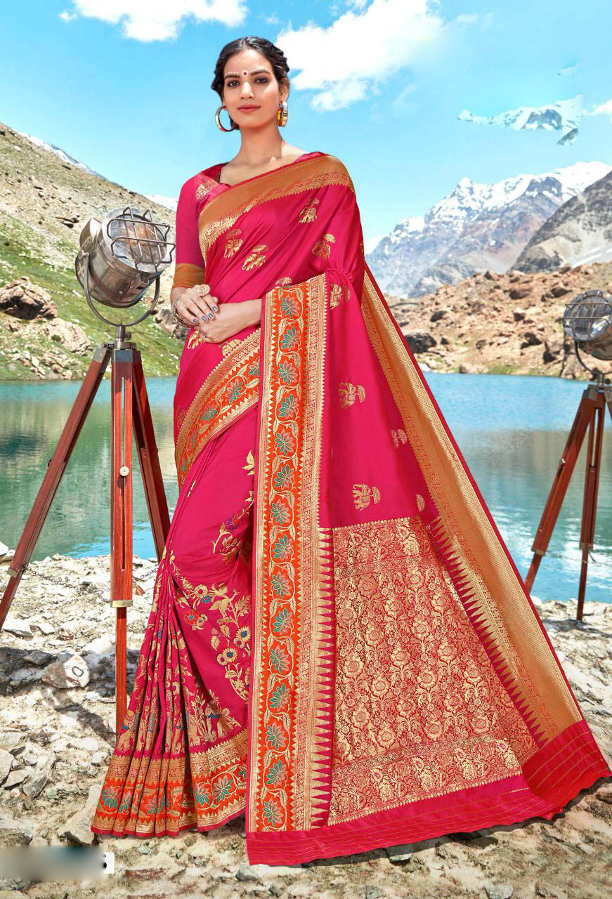 Best Pure Pink Color Soft Silk Saree Images With Price.