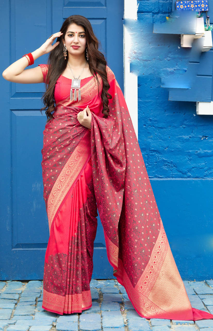 Best Soft Red Color Partywear Wedding Saree