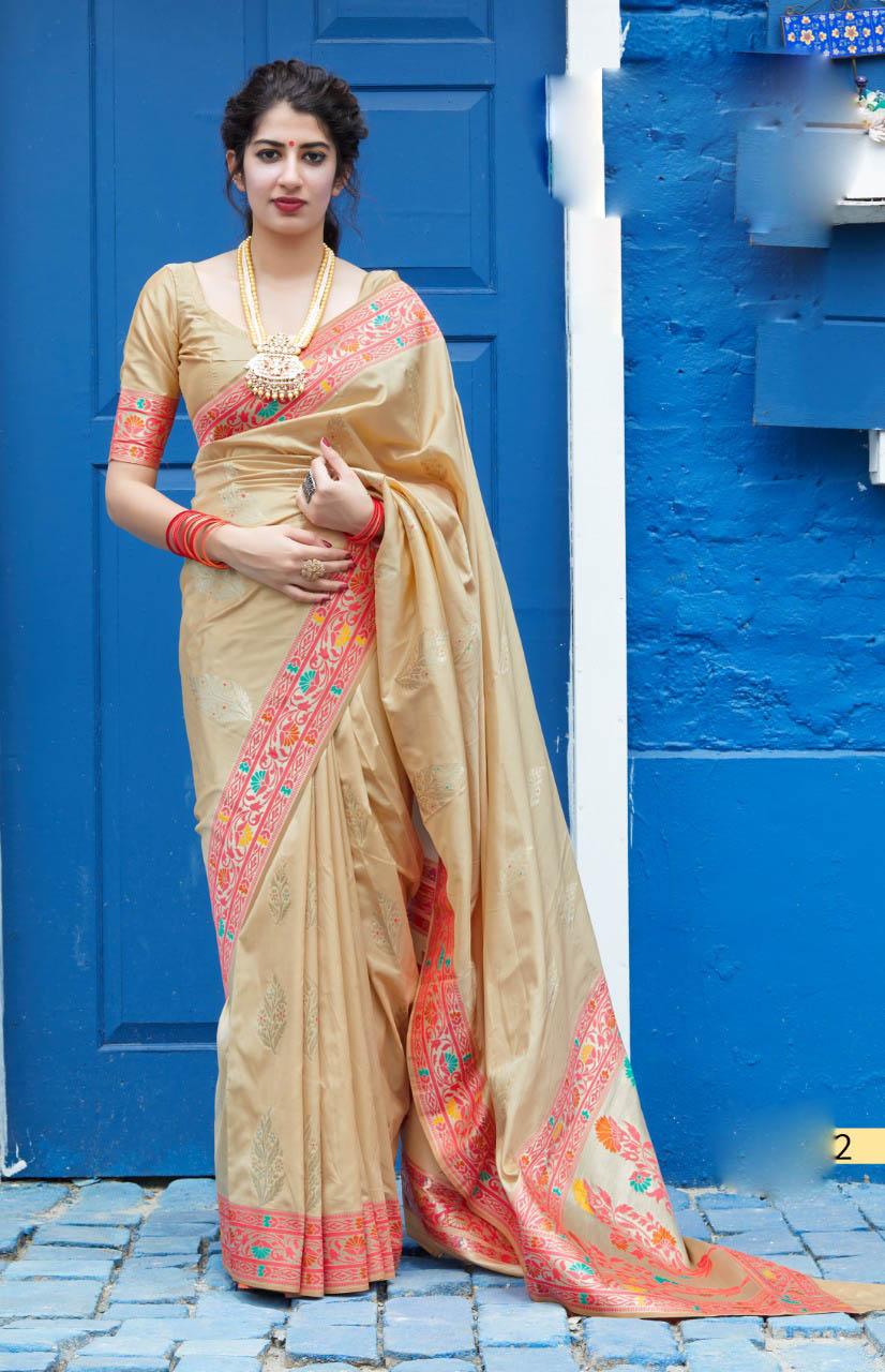 Best Traditional Cream Color Wedding Saree Design