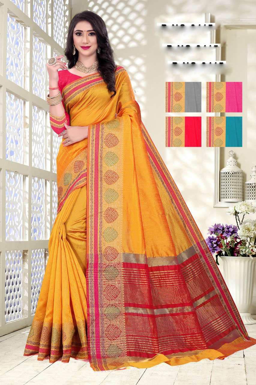 Best Trend Designer Yellow Color Soft Silk Saree Cost.