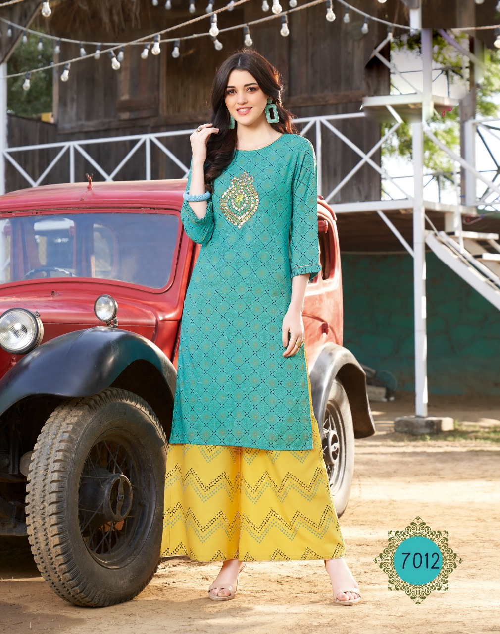 Designer Sky Blue Daily Wear Palazzo Suits