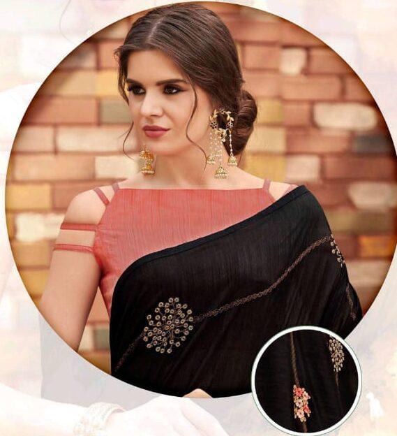 Designer Pink Blouse for Black Saree