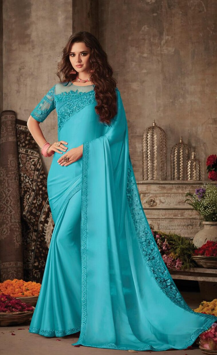 Designer SkyBlue Color Saree For Wedding Party With Price.