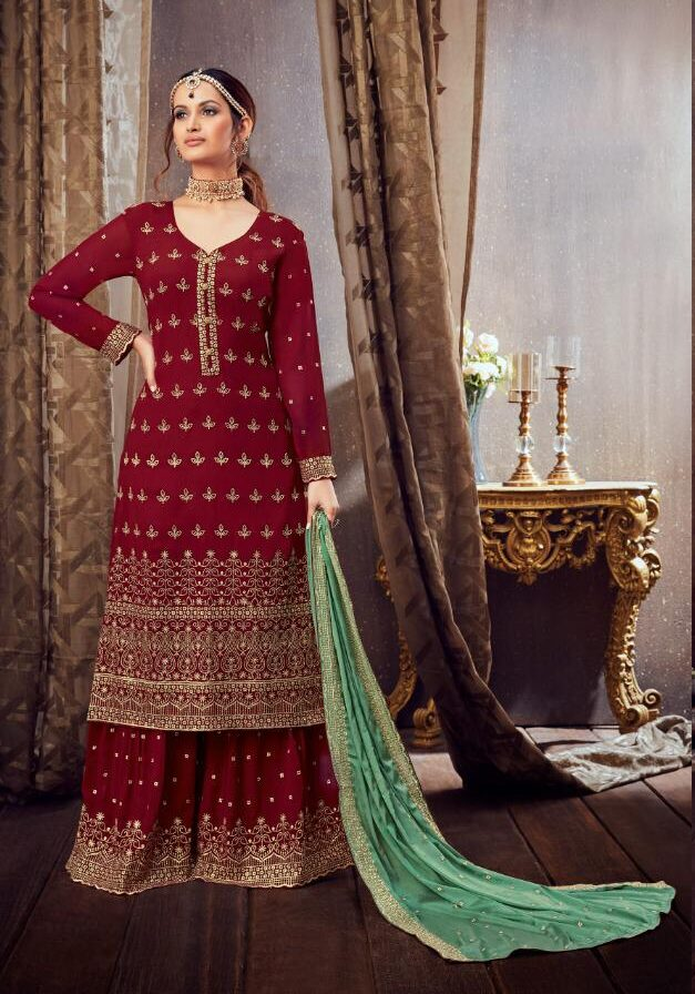 Embroidered Soft Georgette Maroon Sharara Suits Party Wear