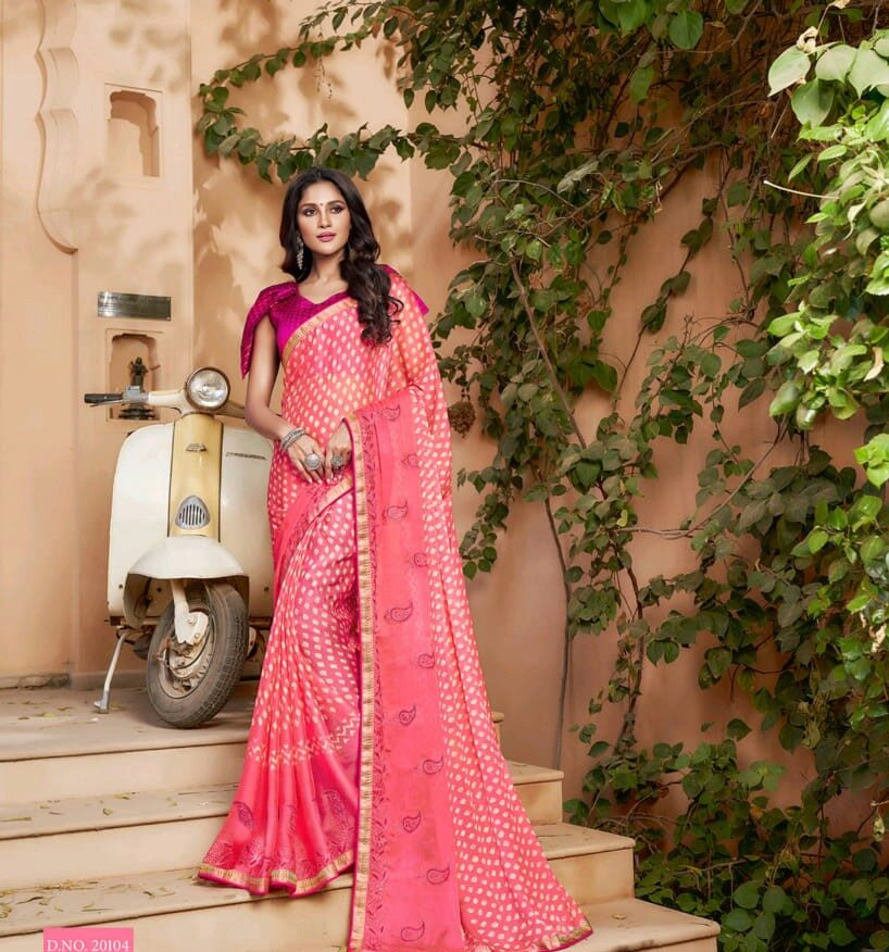 Latest Designer Pink Saree Contrast Blouse