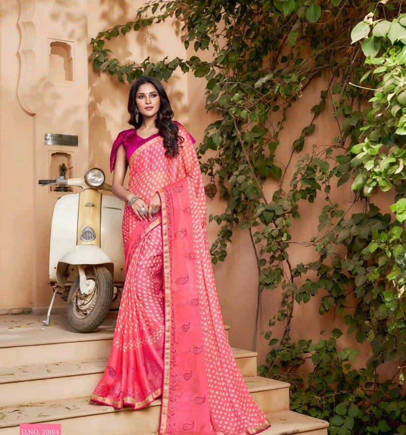 Latest Designer Pink Saree Contrast Blouse