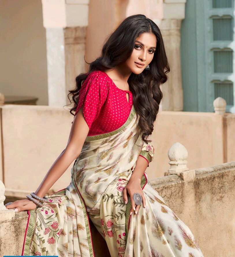 Latest Red Colour Contrast Blouse Designer Saree for Girls