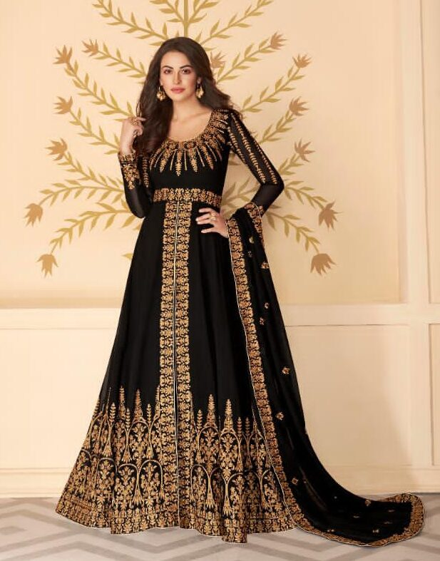 New Best Black Color pure georgette Long suits with price