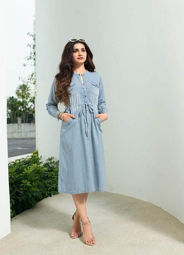 New Best Designer Blue Color Denim Kurta For Ladies.