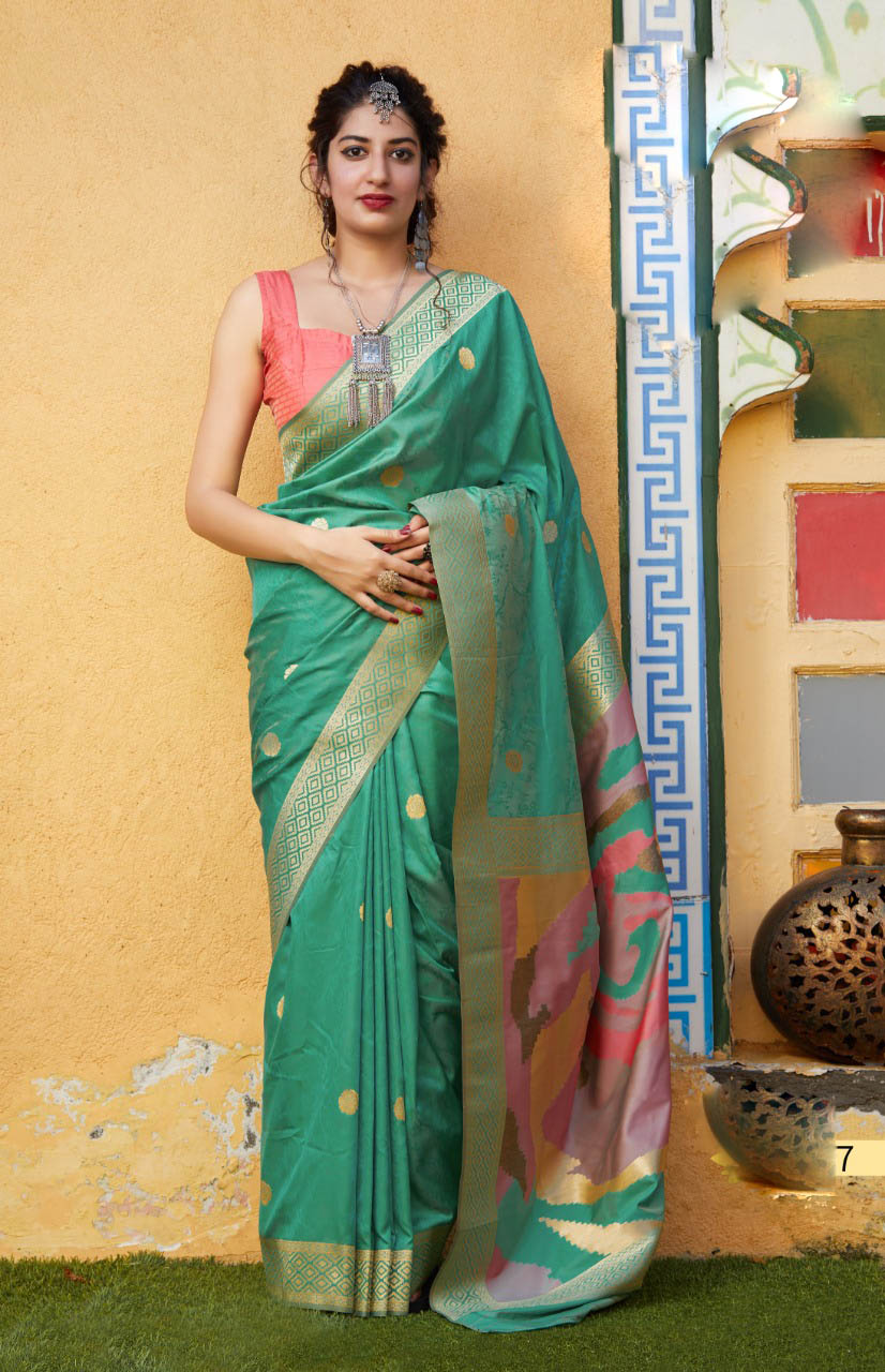 New Best Green Color soft silk sarees online Cost.