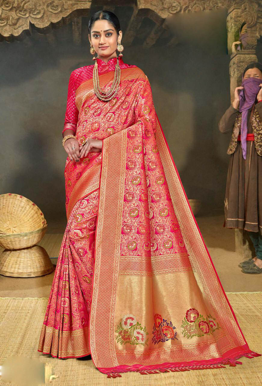 New Best Light Pink Color silk sarees for wedding party.