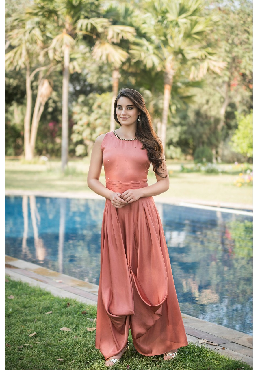 New Best Pink Color Layered missi Silk Modern Suit.