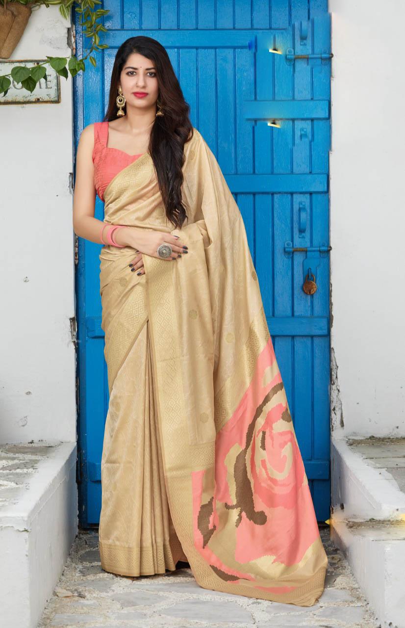 New Best Trend Designer Cream Color silk saree