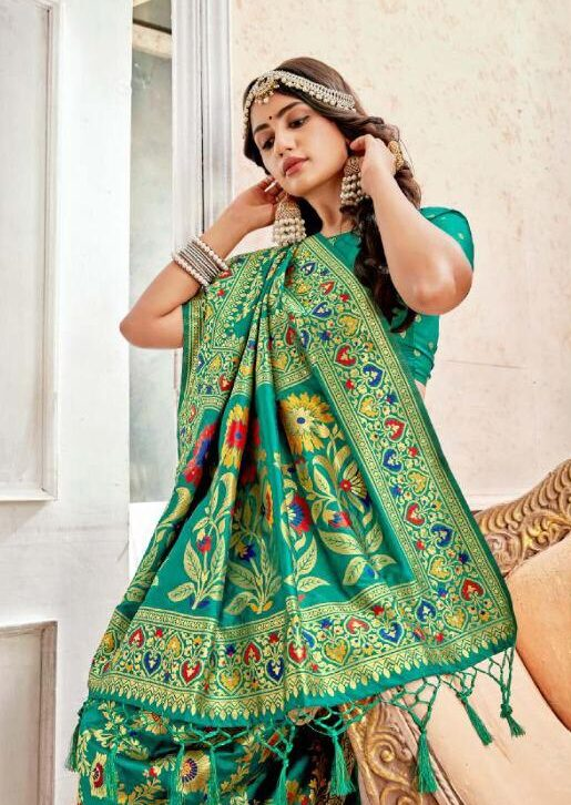 New Best Trend Designer Green Color Heavy Marriage Saree.