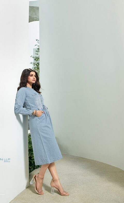 New Best Trend Designer Sky-Blue Denim Kurti.