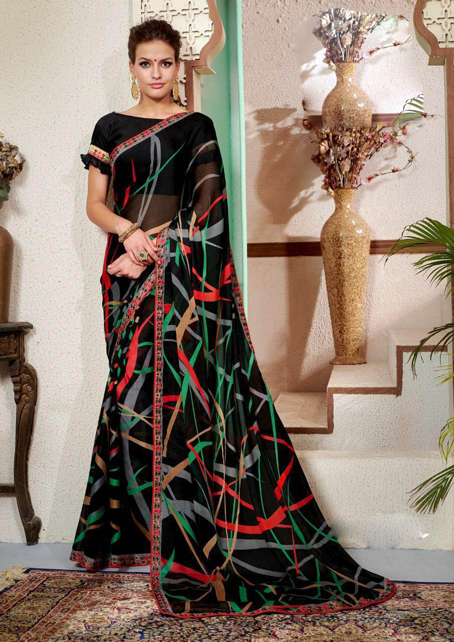 New Designer Black ColorGeorgette Saree With Zari Work.