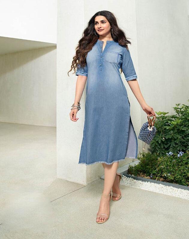 New Designer Blue Color Denim Kurti Online.